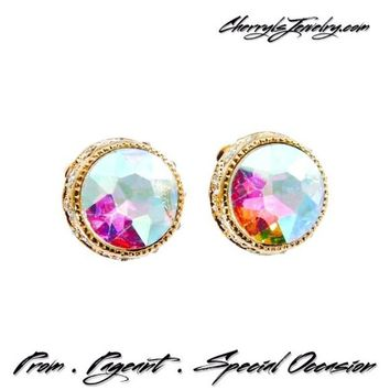 AB Crystal Button Stud Earrings