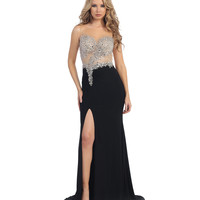Black & Nude Sheer & Sequin Bodice Gown 2015 Prom Dresses