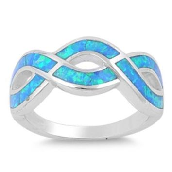 Sterling Silver Infinity Knot 9MM Blue Lab Opal Ring