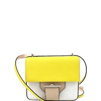 Reed Krakoff Standard Mini Shoulder Bag - White, Yellow & Taupe Leather Bag - ShopBAZAAR