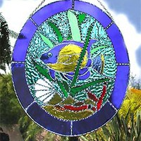 "Sun Catcher - Tropical Blue Fish - Handcrafted Stained Glass Suncatcher - 10"" x 12"""