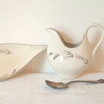 Vintage Handled  China Pitcher and Matching Bowl Plate Taylorton Silver Wheat China Spouted Pitcher Creamer Matching Silver Wheat Plate