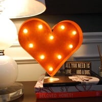 "12"" Small Heart Vintage Marquee Sign with Lights"