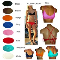 Women's Quality Fashion Designer Bikini Sport Top Racer Back, Lined 6 Colors T75