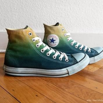 forest green ombre converse dip dye upcycled sneakers all stars chucks uk 7 eu 40