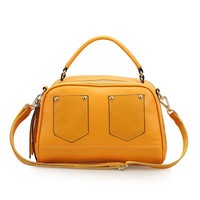 Leather Large Stud Satchel Handbag Crossbody Bag with Detachable Shoulder Strap-Yellow from KissBags