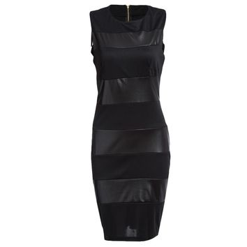 Attractive Jewel Collar Sleeveless PU Leather Splicing Plus Size Midi Dress for Women
