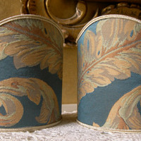 Pair of Clip-On Shield Shades Rubelli Blue Labuan Damask Fabric Mini Lampshade