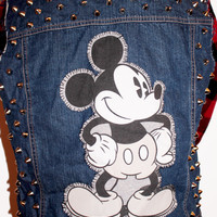 SALE - Mickey Mouse Studded Denim Vest / Disney Clothing / Reconstructed Vintage Sleeveless / Hipster Jean / One of a Kind