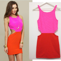 Neon pink red cut out dress