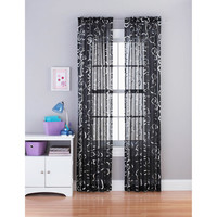 "Walmart: your zone foil floral 84"" tailored curtain panel"