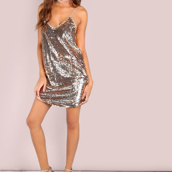 Pink Sequin Spaghetti Strap Cami Mini Dress