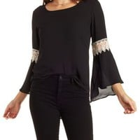 Black/White High-Low Bell Sleeve Top by Charlotte Russe