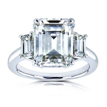 5 1/2 Carat tw Three Stone Emerald Cut Engagement Ring in 14k White Gold