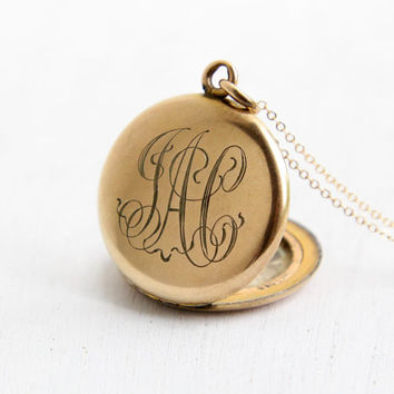 Antique Monogrammed Locket Necklace- Early 1900s Edwardian Art Deco Gold Filled Initial Round Monogrammed Pendant