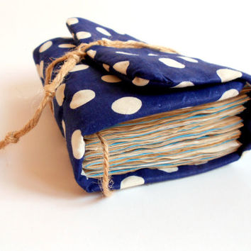 Blue Polka Dot  Journal, Handmade Diary, Travel notebook, Guestbook, Old paper, Personilezed Journal