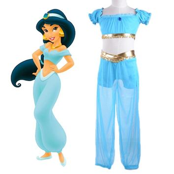 Kids Princess Jasmine Costumes Arabian Dance Costume Aladdin Cosplay Halloween Costume For Children Cartoon Character Cosplay
