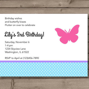 Bright Butterfly Birthday Party Invitations