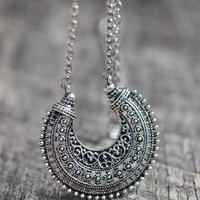Long Boho Crescent Necklace