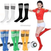 1-30 Pairs Stripe Soccer Football Knee High Tube Socks Sports For Men Ladies ItS