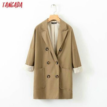 Trendy Tangada fashion women high quality 2018 autumn linen jackets button pocket turn down collar coat ladies loose streetwear XD442 AT_94_13