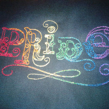 Gay Pride shirt in rainbow vintage script.  Elegant and Custom Embroidered.