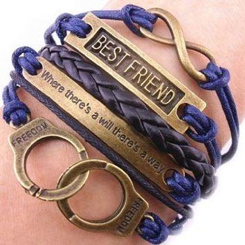 ETSYG® Bronze Infinity 8 Bracelet Best Friend Handcuffs Bangle Blue Rope Black Leather