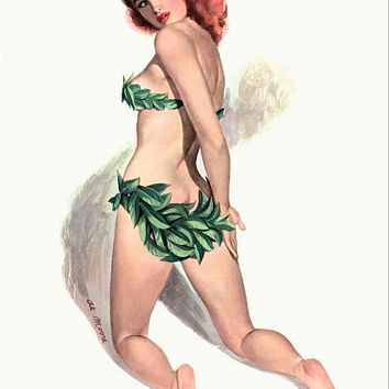 Pinup Girl Redhead With Bikini Made Out Of Poster