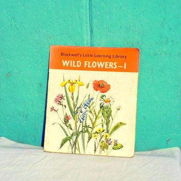 Wild flowers information book for children - educational book - learning - back to school - vintage child book - vintage children book uk