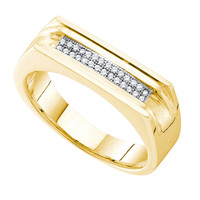 Diamond Micro Pave Mens Ring in 10k Gold 0.1 ctw