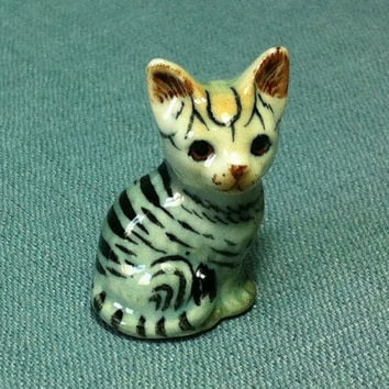 Miniature Ceramic Cat Kitty Kitten Animal Funny Cute Little Tiny Small White Grey Brown Figurine Statue Decoration Collectible Hand Painted