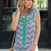 Blue and Green Geo Print Blouse-Collective Concepts Proof Blouse-$53.00 | Hand In Pocket Boutique
