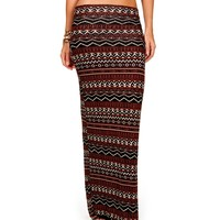 Rust/Black Tribal Printed Maxi Skirt