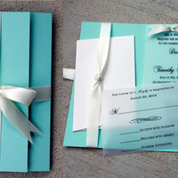 Tiffany Blue Wedding Invitation, Tiffany Blue with White Bow, Tiffany Blue Wedding, Blue & White Invitation, Vellum Wedding Invitation