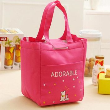 Oxford Waterproof Cartoon Velcro Thickening Lunch Tote Bag Picnic Cooler Insulated Handbag