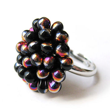 Black Sliperit Berry Cluster Ring - Limited Edition Jet Cocktail ring - Blackberry classic ring - Mesmerizing Statement ring - Gift for her
