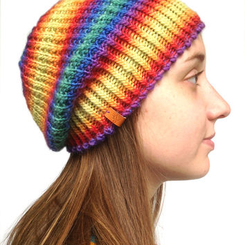 Slouch Multi Color Hand Knit Beanie Boho Knit Beanie Hipster Beanie, Handknit Beanie, Knitted Beanie, Knitted Boho Slouch Beanie, Men, Women
