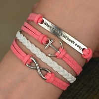 Infinity Anchor Antique Silver friendship Velvet Leather Cute Bracelet A005:Amazon:Arts, Crafts & Sewing