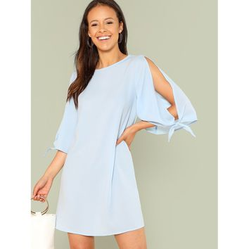 Knotted Split Sleeve Tunic Dress