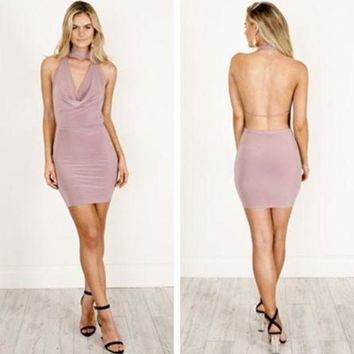 ESBON Solid Color Fashion Bodycon Pack Hip Backless Deep V-Neck Sleeveless Halter Mini Dress