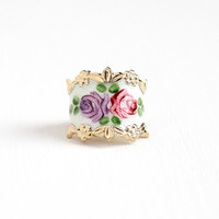 Vintage Sterling Silver White Guilloche Flower Enamel Ring - Retro Size 5 Gold Washed Vermeil Vargas Floral Rose Cigar Band Jewelry