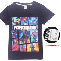Fortnite 100% Cotton Summer T Shirt Fortnite Battle Royale Legend Gaming Pattern Tops Baby Boys T-shirt Kids Clothes 12 14 Years