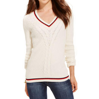 Tommy Hilfiger Womens Cable Knit Long Sleeves Pullover Sweater