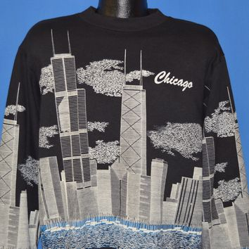80s Chicago Skyline Sears Tower Sweatshirt Extra Large