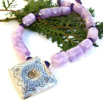 Thai Fine Silver Lavender Amethyst Necklace Handmade Gemstone Jewelry | ShadowDogDesigns - Jewelry on ArtFire