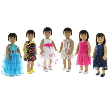 "Doll Clothes Fits American Girl & Other 18"" Inch Dolls 6 Pieces Dresses Set"