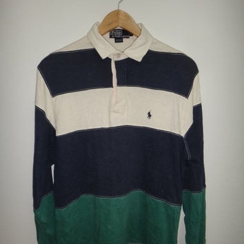 New Year Sale Vintage Polo Ralph Lauren Raglan Color Block T Shirt 1990s Stripe Pony Crest P wing Stadium Long Sleeve Hip Hop swag