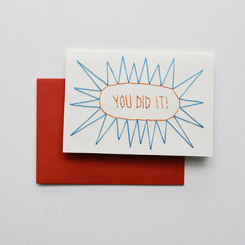 YOU DID IT!  - Hand Stitched Note Card with Envelope