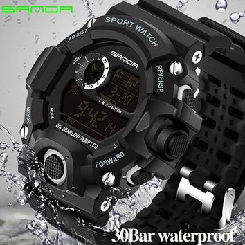 Sanda Digital Watch Men Military G Style Shock Sport Watch Waterproof Electronic Wristwatch Mens Clock Rubber Band Relojes