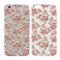 Case for Iphone 6/Iphone 6S-Cream Cookies-Vintage Floral Flowers-Baroque Retro Court Flowers Clear Pattern Premium Ultra Slim Hard Plastic Cover Case